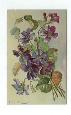 Antique 1908 Embossed Post Card Beautiful Flowers with Gold Foil Trim