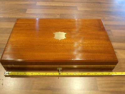 Antique Lined Mahogany Collectors Box with lock and key