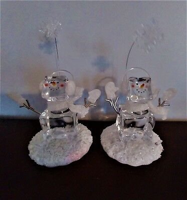 Two Vintage Holiday Christmas Battery Lighted Glass Snowmen