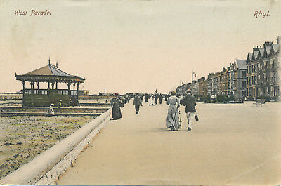 Wales - Rhyl - Wet Parade - hand-tinted used postcard