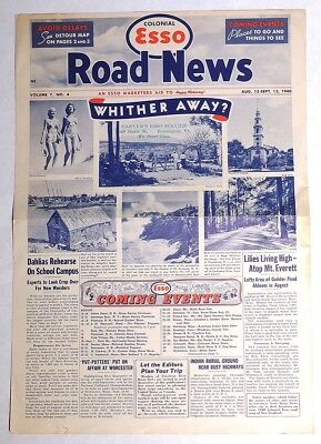 ESZ8617. Vintage: Colonial ESSO ROAD NEWS Volume 7 #4 With Map (Aug-Sept 1940)