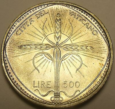 Vatican 500 Lire 1968 Gem Unc Silver~Rare 110k Minted~Wheat Ears Forming Cross