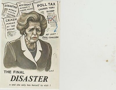 """Margaret Thatcher """"POLL TAX"""" Related Vintage Postcard Unposted Number 1"""
