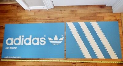 vintage ADIDAS store display sign salvaged from custom blue/white shoe rack LG01