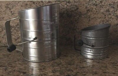 Vintage Bromwell Measuring-Sifter #39 black handle & miniature child's sifter