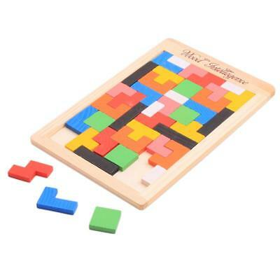 3D Colorful Wooden Tangram Brain Teaser Puzzle Toys Tetris Game Preschool W