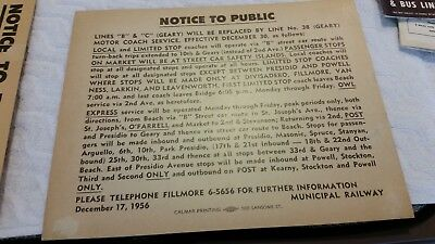 1956 Muni Railway Of San Francisco Notice Of Op. Changes,lines B&c, Repl By 38