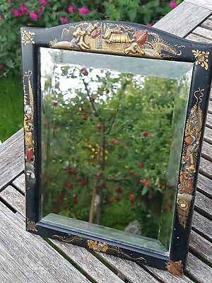 Antique Chinoiserie Dressing Table Mirror Chinese Style Vintage Bevelled Glass
