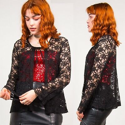Black Floral Lace Blouse Top Vintage Long Sleeve Cardigan Style Cute Grunge 12