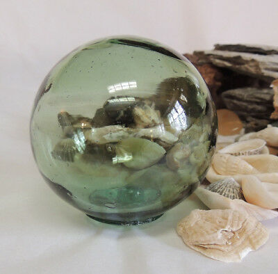 Vintage Japanese GLASS FISHING FLOAT.. Moss Green, Bubbles & Striations (#42)