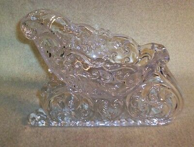 Vintage Heavy Glass Sleigh Use For Christmas Holiday Table Decoration