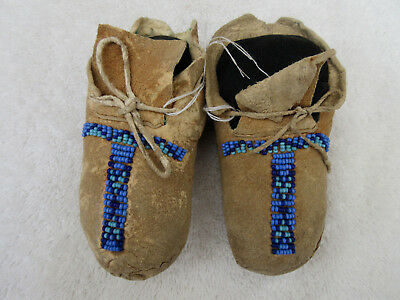 Very Nice Old Pair Of Sioux Beaded Baby Moccasins--Nr!
