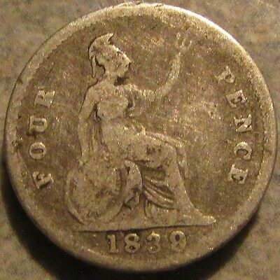 1839 British Guyana Four Pence Groat 92.5% Sterling Silver Coin - British