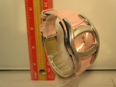 FADED GLORY Quartz Pink Face Pink Leather Strap Womens Ladies Girls Watch Rare !