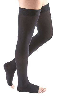 MEDIVEN* (1) Pair COMFORT Open Toe COMPRESSION STOCKINGS Thigh EBONY Size III 1a