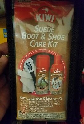 Kiwi Suede Boot & Shoe Care Kit Cleaner Protector Brush Block 4.25Oz
