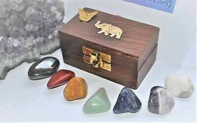 CHAKRA CRYSTALS GEMSTONES HEALING GIFT SET  WOODE CHEST 7pc STONES REIKI