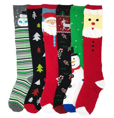 6 Pairs Christmas Knee High Socks NEW Lot Casual Winter Xmas Gifts USA Delivery