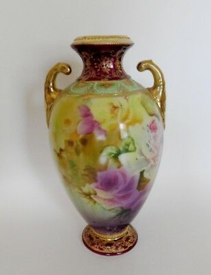 Antique Sign Hand Painted Nippon Gold Moriage Beading Porcelain Pink Roses Vase