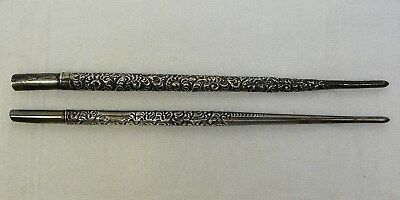 Two Sterling Silver Repousse Dip Pens Antique Vintage Lot