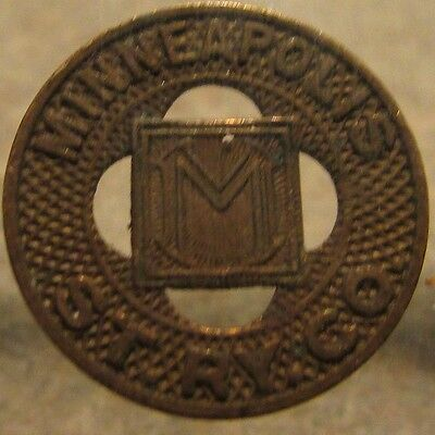 Old Brass Minneapolis, MN St. Ry. Co. Transit Trolley Token - Minnesota Minn.