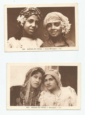 Mauresque women ethnic north Africa Two lithograph postcards