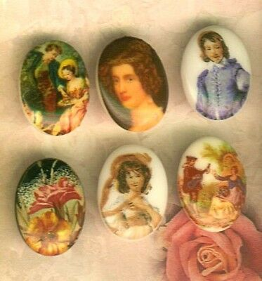 (6) Oval White Porcelain Buttons w/ People Designs