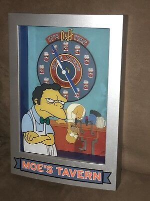 The Simpsons MOE'S TAVERN Battery Operated Clock IT'S DUFF TIME Beer in VGUC