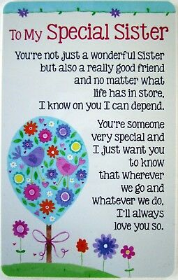 """Heartwarmer Keepsake Card """"to My Special Sister"""" With Sweet Verse Birthday Gift"""