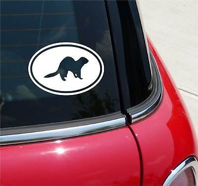 Euro Ferret Ferrets Graphic Decal Sticker Car Wall Oval NOT Two Colors