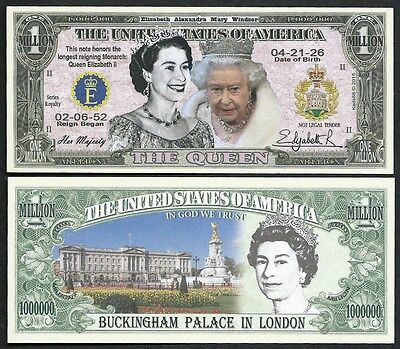 Lot of 100 BILLS - Queen Elizabeth II Commemorative Million Dollar Bill