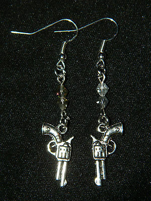 Handmade Crystal Silver Gun Revolver DANGLE EARRINGS Country Western ANY COLORS