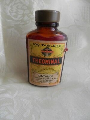 1900's Winthrop Chemical Co.Theominal  Amber Apothecary Bottle