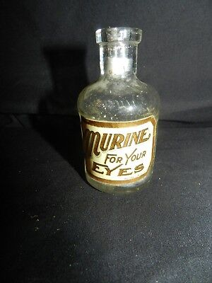 1900's Murine Embossed Apothecary Bottle with Original Label
