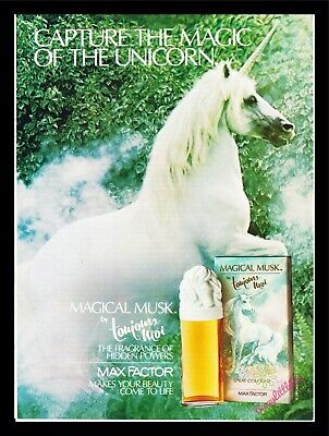 1985 Print Ad~Magical Musk~Toujours Moi~Unicorn~1980s~K100