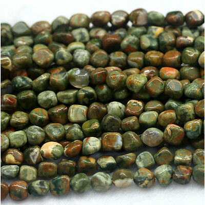 Natural Genuine Green Yellow Rhyolite Jasper Nugget Loose Beads Free Form 15""
