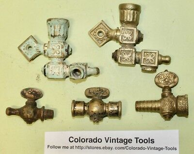 (5) Vintage Brass Gas Line Pipe Fittings / Architectural Restoration /$7.25 Ship