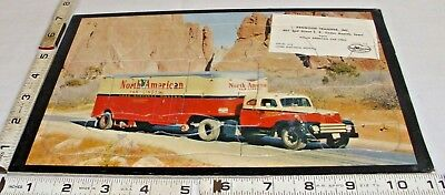 NORTH AMERICAN VAN LINES SEMI TRUCK 1950s COLOR FRAME TRAY PUZZLE ADVERTISING
