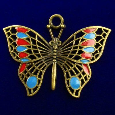 F65770 Carved Brass Bronze Drops Of Oil Butterfly Pendant Bead 62x42x3mm