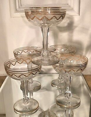 Set of 6 Antique St Louis Gold Crystal Hollow Stem Champagne Glasses - Beethoven