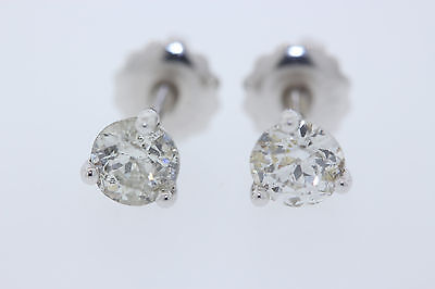 14k or Blanc .70ct Euro Coupe Rond Boucles Oreilles Diamant (I, Si2)