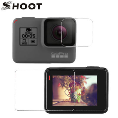 SHOOT HD Clear Lens Screen Protector Tempered Glass for GoPro Hero 7 Black/6/5