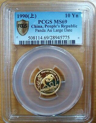 1990 China 1/10oz Panda Gold Coin G10Y Large date PCGS MS69