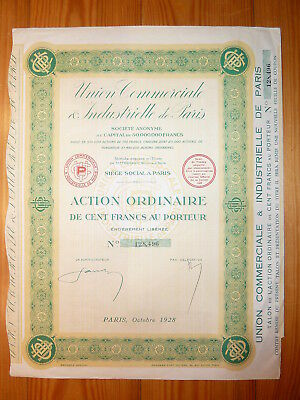 F: Union Commerciale & Industrielle de Paris, 1928, 100 Francs*