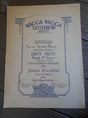 1947 Wagga Wagga Eisteddfod Society first prize certificate signed 27th Annual