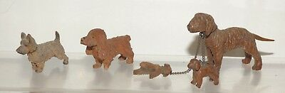 AW15 Antique Wooden German Black Forest Group Miniature Dogs, largest 4cm high