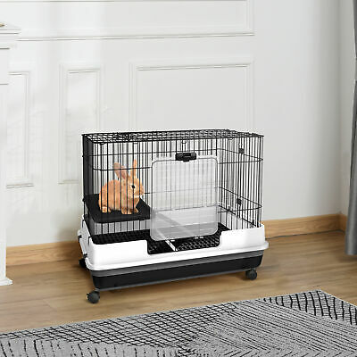 "32""H 2-level Rabbit Cage Indoor Small Animal Hutch Ferret House Habitat Metal"