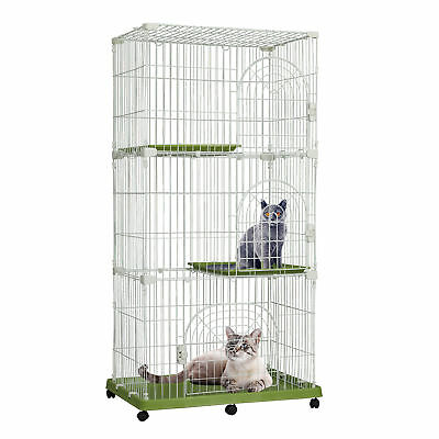 "70""H 3 Level Large Wire Cat Cage Rolling Pet Playpen House Small Animal Crate"