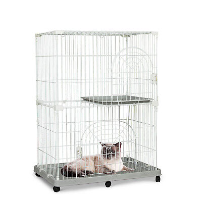 "47.5""H 2 Level Rolling Wire Pet Cage Cat Playpen Kitty House Small Animal Crate"