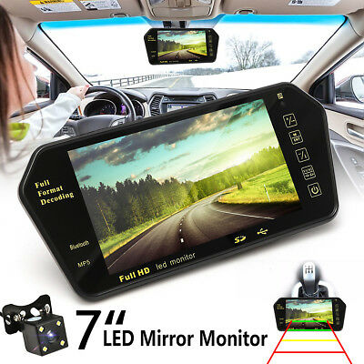 "7"" LCD Mirror Monitor bluetooth Car Rear View Backup Camera Night Vision USB/TF"